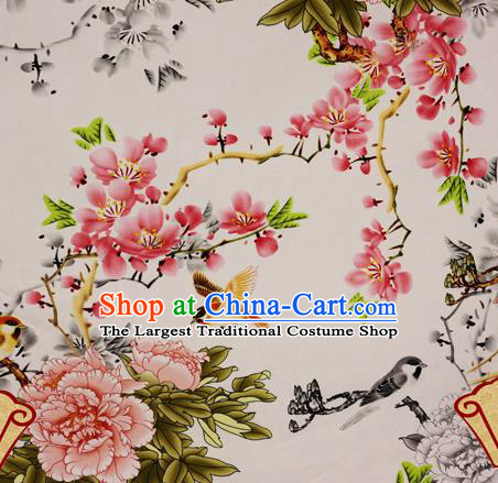 Chinese Traditional Fabric Classical Peach Blossom Peony Pattern Design Brocade Cheongsam Satin Material Silk Fabric