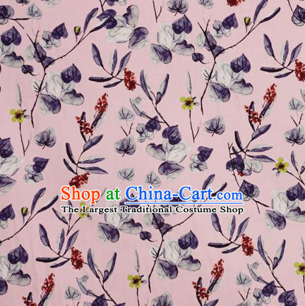 Chinese Traditional Fabric Classical Leaf Pattern Design Pink Brocade Cheongsam Satin Material Silk Fabric