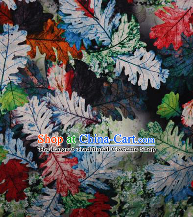 Chinese Traditional Fabric Classical Green Leaf Pattern Design Brocade Cheongsam Satin Material Silk Fabric