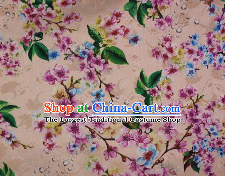 Chinese Traditional Fabric Classical Peach Blossom Pattern Design Brocade Cheongsam Satin Material Silk Fabric