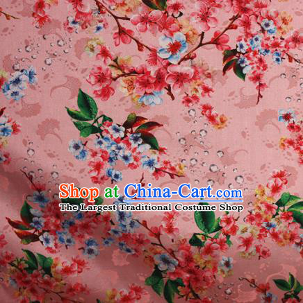 Chinese Traditional Fabric Classical Peach Blossom Pattern Design Pink Brocade Cheongsam Satin Material Silk Fabric