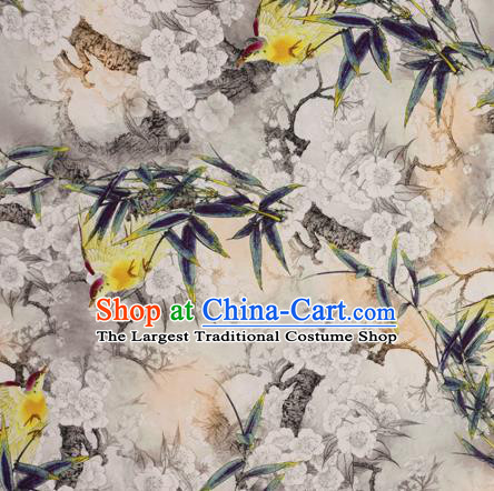 Chinese Traditional Fabric Classical Bamboo Leaf Pattern Design Brocade Cheongsam Satin Material Silk Fabric