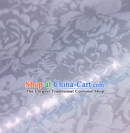 Chinese Traditional Cheongsam Fabric Classical Peony Pattern Design White Brocade Satin Material Silk Fabric