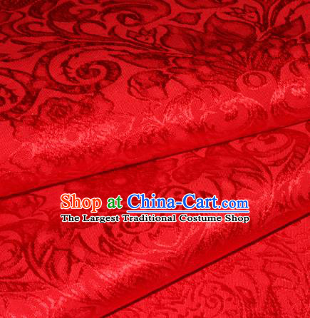 Chinese Traditional Cheongsam Fabric Classical Pattern Red Brocade Satin Material Silk Fabric