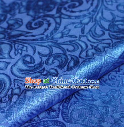 Chinese Traditional Cheongsam Fabric Classical Pattern Blue Brocade Satin Material Silk Fabric