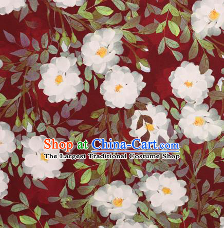 Chinese Traditional Fabric Classical Gardenia Pattern Design Red Brocade Cheongsam Satin Material Silk Fabric