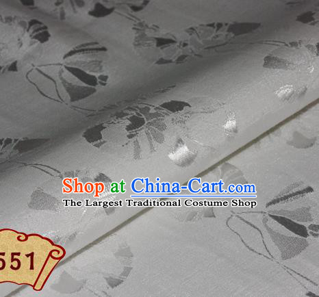 Chinese Traditional Pattern White Brocade Cheongsam Classical Fabric Satin Material Silk Fabric