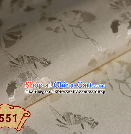 Chinese Traditional Pattern Beige Brocade Cheongsam Classical Fabric Satin Material Silk Fabric