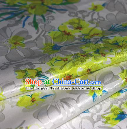 Chinese Traditional Hanfu Royal Printing Yellow Plum Blossom Pattern Brocade Material Cheongsam Classical Fabric Satin Silk Fabric