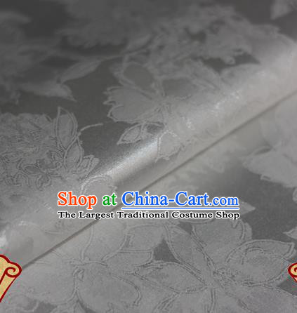 Chinese Traditional Flowers Pattern White Brocade Cheongsam Classical Fabric Satin Material Silk Fabric