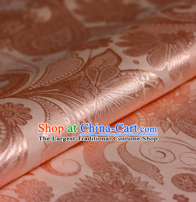 Chinese Traditional Hanfu Royal Lotus Pattern Pink Brocade Material Cheongsam Classical Fabric Satin Silk Fabric