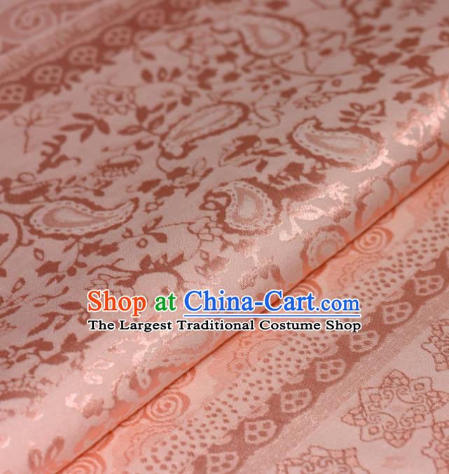 Chinese Traditional Hanfu Royal Linfa Pattern Pink Brocade Material Cheongsam Classical Fabric Satin Silk Fabric
