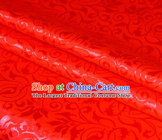 Chinese Traditional Hanfu Royal Scroll Pattern Red Brocade Material Cheongsam Classical Fabric Satin Silk Fabric