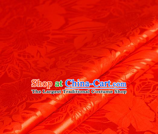 Chinese Traditional Hanfu Royal Flowers Pattern Red Brocade Material Cheongsam Classical Fabric Satin Silk Fabric