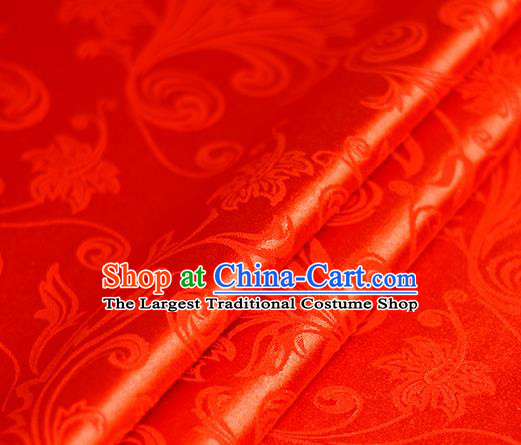 Chinese Traditional Hanfu Royal Grass Pattern Red Brocade Material Cheongsam Classical Fabric Satin Silk Fabric