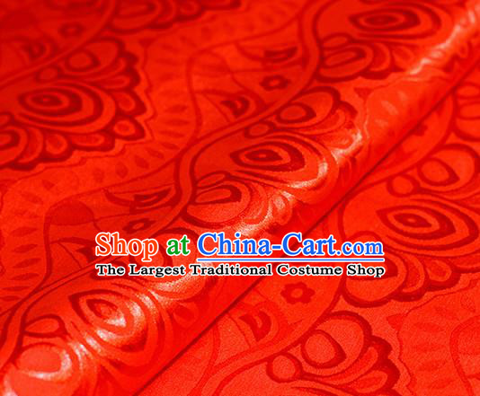 Chinese Traditional Hanfu Royal Pattern Red Brocade Material Cheongsam Classical Fabric Satin Silk Fabric