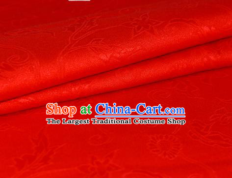 Chinese Traditional Hanfu Royal Daisy Pattern Red Brocade Material Cheongsam Classical Fabric Satin Silk Fabric