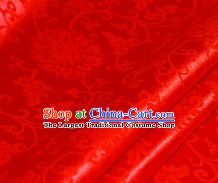 Chinese Traditional Hanfu Royal Rosette Pattern Red Brocade Material Cheongsam Classical Fabric Satin Silk Fabric