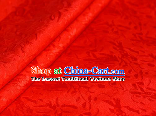 Chinese Traditional Hanfu Royal Acanthus Pattern Red Brocade Material Cheongsam Classical Fabric Satin Silk Fabric