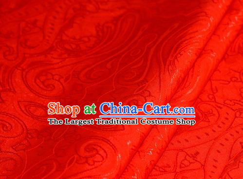Chinese Traditional Hanfu Royal Palace Pattern Red Brocade Material Cheongsam Classical Fabric Satin Silk Fabric