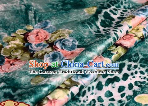 Chinese Traditional Hanfu Printing Roses Pattern Deep Green Brocade Material Cheongsam Classical Fabric Satin Silk Fabric