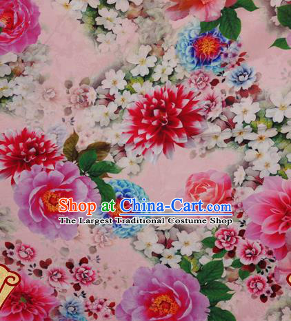 Chinese Traditional Hanfu Printing Peony Pattern Pink Brocade Material Cheongsam Classical Fabric Satin Silk Fabric