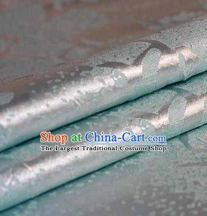 Chinese Traditional Hanfu Blue Brocade Material Cheongsam Classical Fabric Satin Silk Fabric