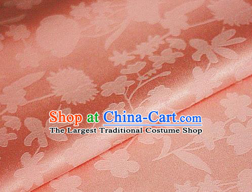Chinese Traditional Hanfu Dandelion Pattern Orange Brocade Material Cheongsam Classical Fabric Satin Silk Fabric