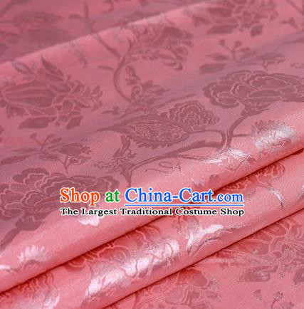 Chinese Traditional Carnation Pattern Hanfu Pink Brocade Material Cheongsam Classical Fabric Satin Silk Fabric