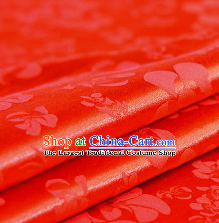 Chinese Traditional Pattern Hanfu Red Brocade Material Cheongsam Classical Fabric Satin Silk Fabric