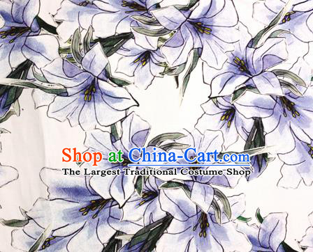 Chinese Traditional Fabric Classical Lily Flowers Pattern Design Brocade Cheongsam Satin Material Silk Fabric