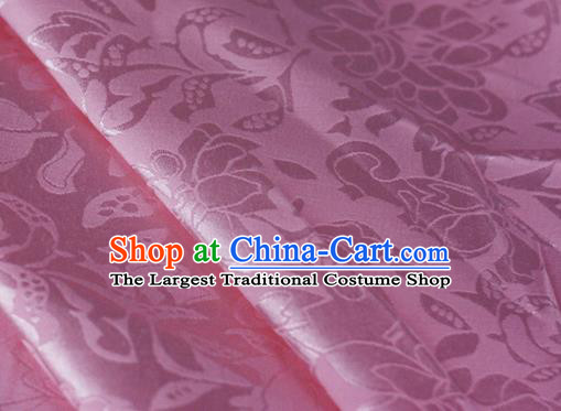 Chinese Traditional Hanfu Palace Peony Pattern Pink Brocade Material Cheongsam Classical Fabric Satin Silk Fabric