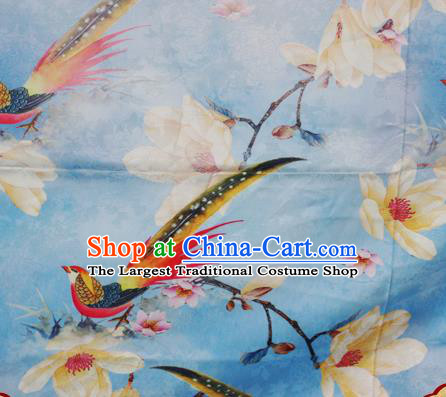Chinese Traditional Hanfu Printing Magnolia Birds Pattern Blue Brocade Material Cheongsam Classical Fabric Satin Silk Fabric