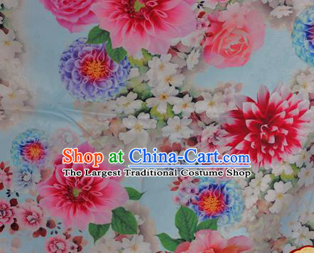 Chinese Traditional Hanfu Printing Peony Pattern Blue Brocade Material Cheongsam Classical Fabric Satin Silk Fabric