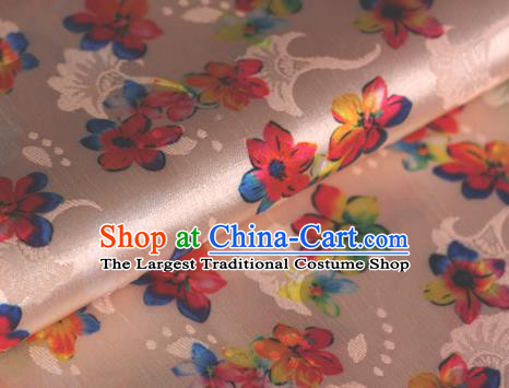 Chinese Traditional Fabric Classical Cherry Blossom Pattern Design Pink Brocade Cheongsam Satin Material Silk Fabric