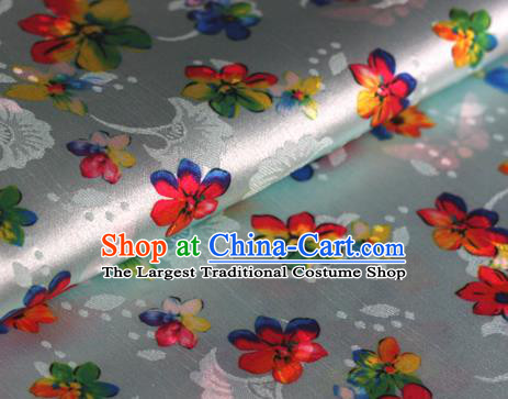 Chinese Traditional Fabric Classical Cherry Blossom Pattern Design White Brocade Cheongsam Satin Material Silk Fabric