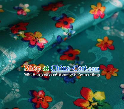 Chinese Traditional Fabric Classical Cherry Blossom Pattern Design Green Brocade Cheongsam Satin Material Silk Fabric