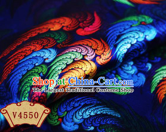 Chinese Traditional Fabric Classical Wings Pattern Design Royalblue Brocade Cheongsam Satin Material Silk Fabric