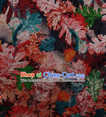 Chinese Traditional Fabric Classical Red Leaf Pattern Design Brocade Cheongsam Satin Material Silk Fabric