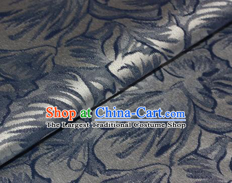 Chinese Traditional Flowers Pattern Blue Brocade Material Cheongsam Classical Fabric Satin Silk Fabric
