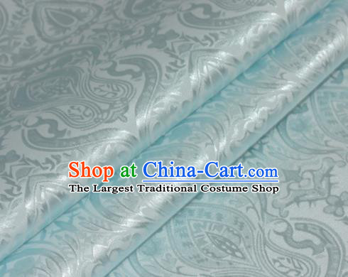 Chinese Traditional Royal Pattern Blue Brocade Material Cheongsam Classical Fabric Satin Silk Fabric