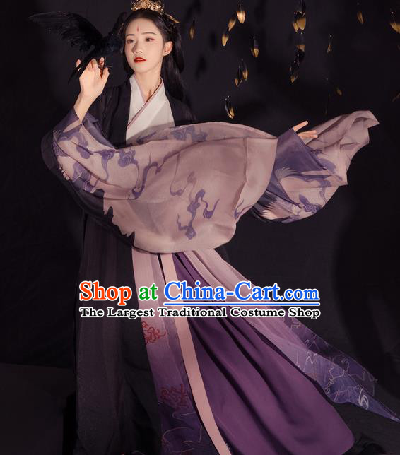 Chinese Ancient Jin Dynasty Palace Lady Embroidered Hanfu Dress Traditional Historical Costume for Women