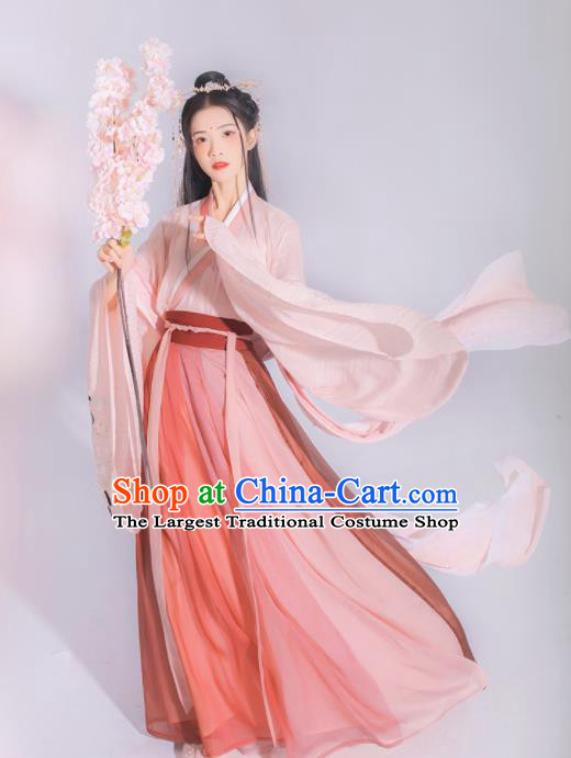 Chinese Ancient Jin Dynasty Princess Embroidered Hanfu Dress Traditional Peri Historical Costume for Women