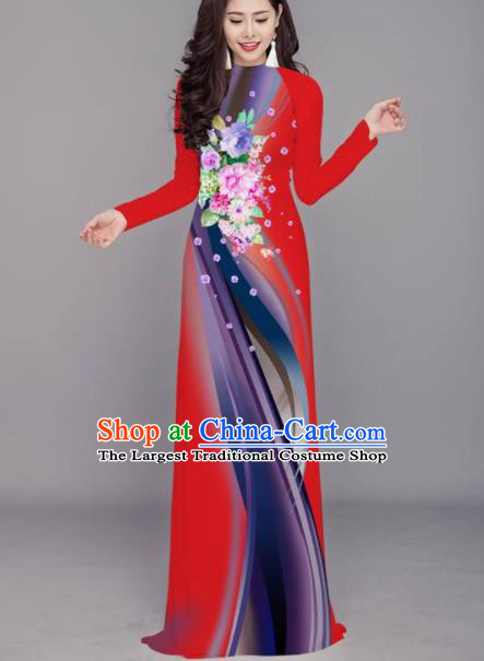 Vietnam Traditional Printing Flowers Red Aodai Cheongsam Asian Costume Vietnamese Bride Classical Qipao Dress for Women