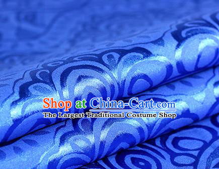 Chinese Traditional Pattern Royalblue Brocade Material Hanfu Cheongsam Classical Fabric Satin Silk Fabric