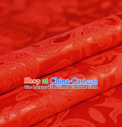Chinese Traditional Flowers Pattern Red Brocade Material Hanfu Cheongsam Classical Fabric Satin Silk Fabric