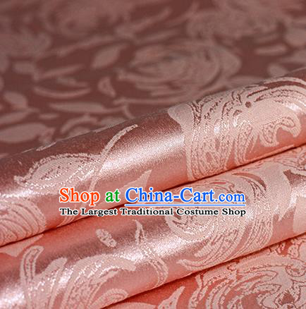 Chinese Traditional Flowers Pattern Pink Brocade Material Hanfu Cheongsam Classical Fabric Satin Silk Fabric