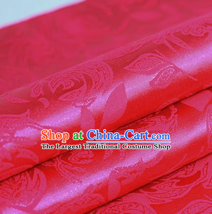 Chinese Traditional Flowers Pattern Rosy Brocade Material Hanfu Cheongsam Classical Fabric Satin Silk Fabric