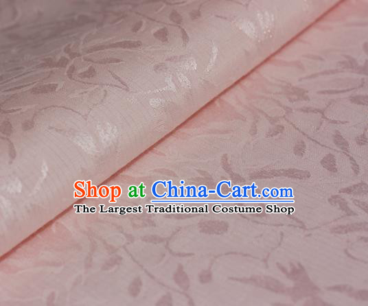 Chinese Traditional Cheongsam Light Pink Brocade Material Hanfu Classical Fabric Satin Silk Fabric