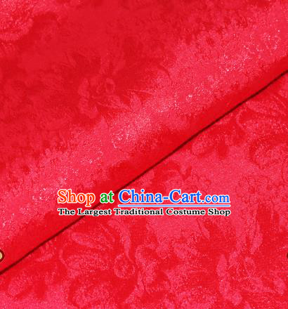 Chinese Traditional Cheongsam Fabric Rosy Brocade Material Hanfu Classical Satin Silk Fabric